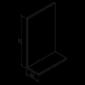 Hoeklijn 20x70x2